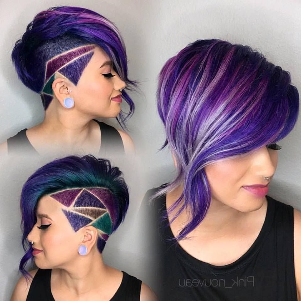 Shaved Side Bob With Purple Oil Slick Hair And Shaved Hair Design With Regard To Shaved Side Short Hairstyles (View 5 of 25)