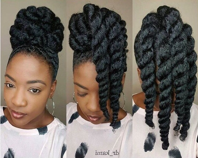 She Used Flat Twists To Create Fabulous Summer Curls On Short Inside Black Curly Ponytails With Headband Braid (View 24 of 25)