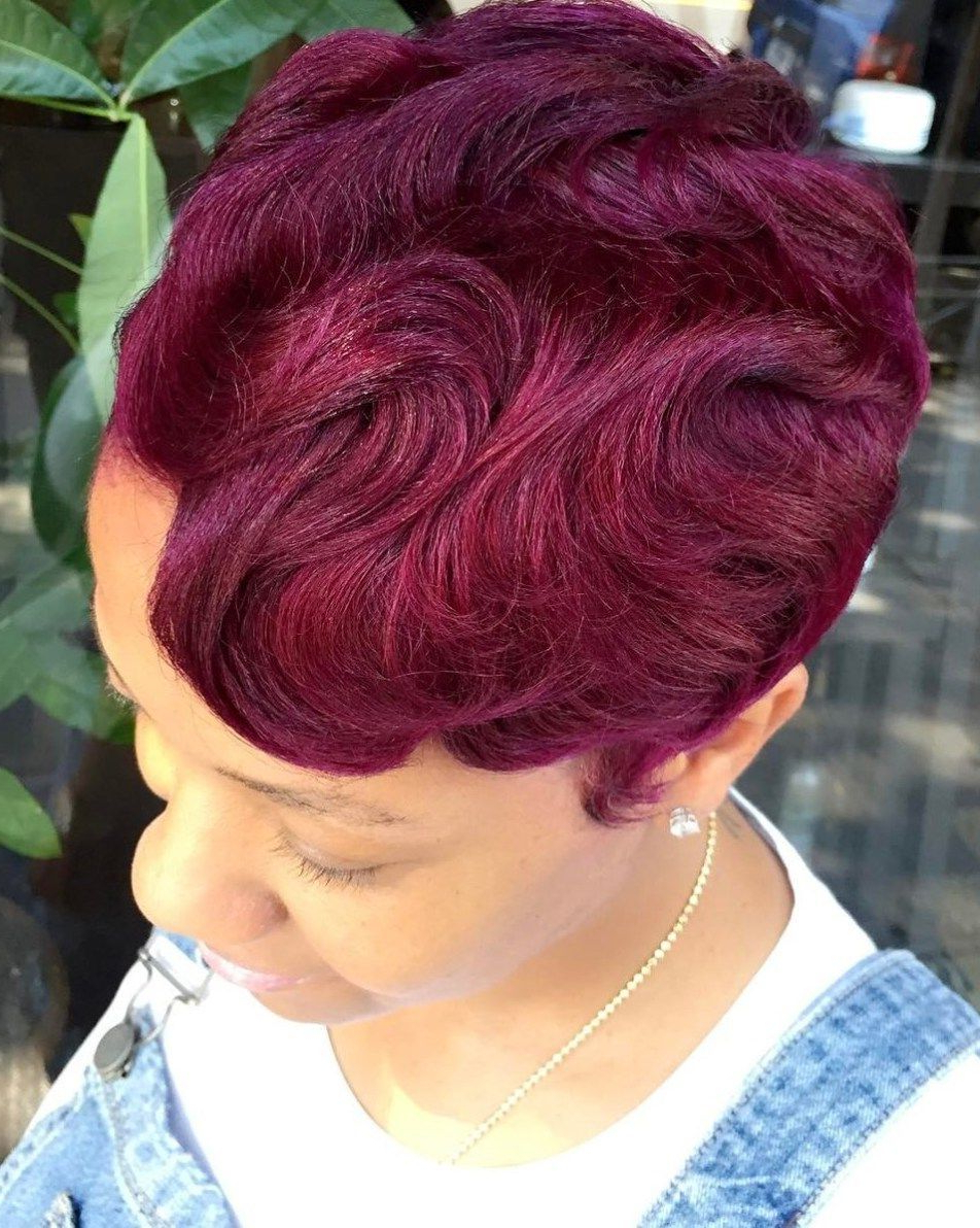 Short Burgundy Finger Waves Hairstyle | Hairstyles From Africa Regarding Burgundy Short Hairstyles (View 6 of 25)