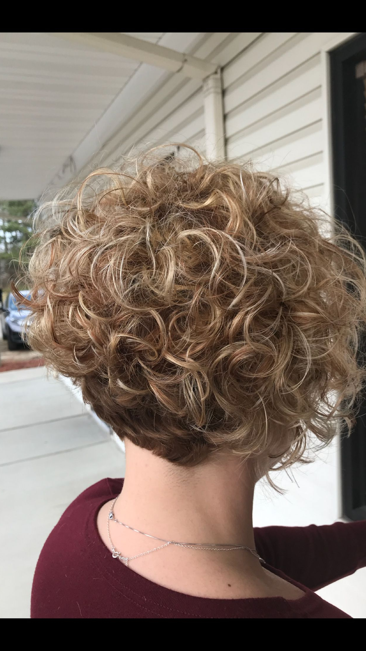 Short Curly Angled Bob With Root Shadow And Blonde Balayage | Hair With Regard To Curly Angled Bob Hairstyles (View 22 of 25)