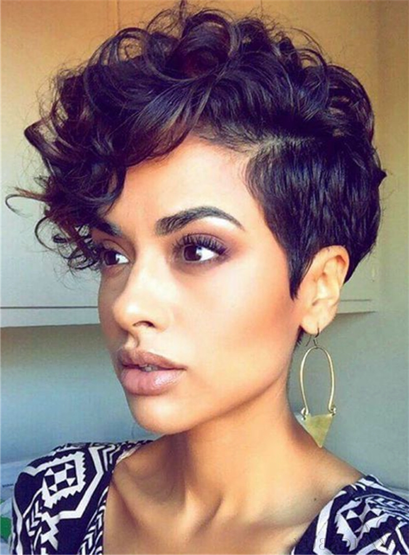 Short Curly Sexy Pixie Synthetic Hair Capless African American Wigs Within Sexy Short Haircuts For Black Women (View 5 of 25)