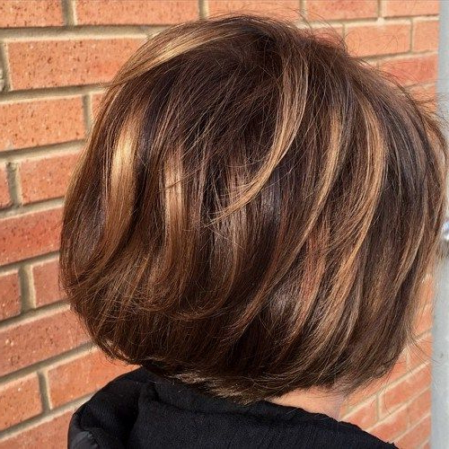 Short Hair Highlights With Caramel Color Regarding Layered Caramel Brown Bob Hairstyles (View 14 of 25)