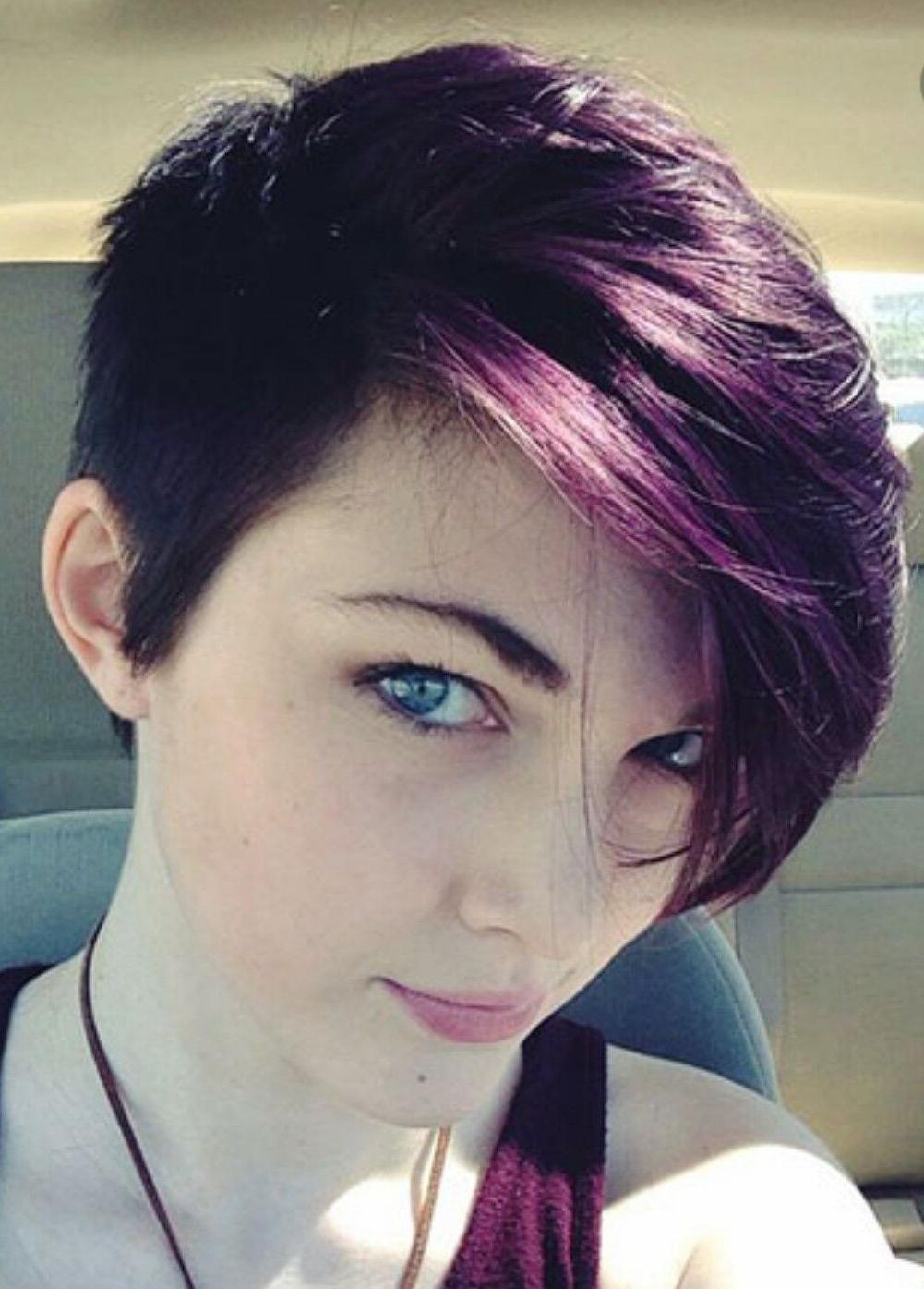 Short Hair, Long Side Bangs, Dark Purple Hair Color   Hair In 2018 For Short Haircuts With Long Side Bangs (View 3 of 25)