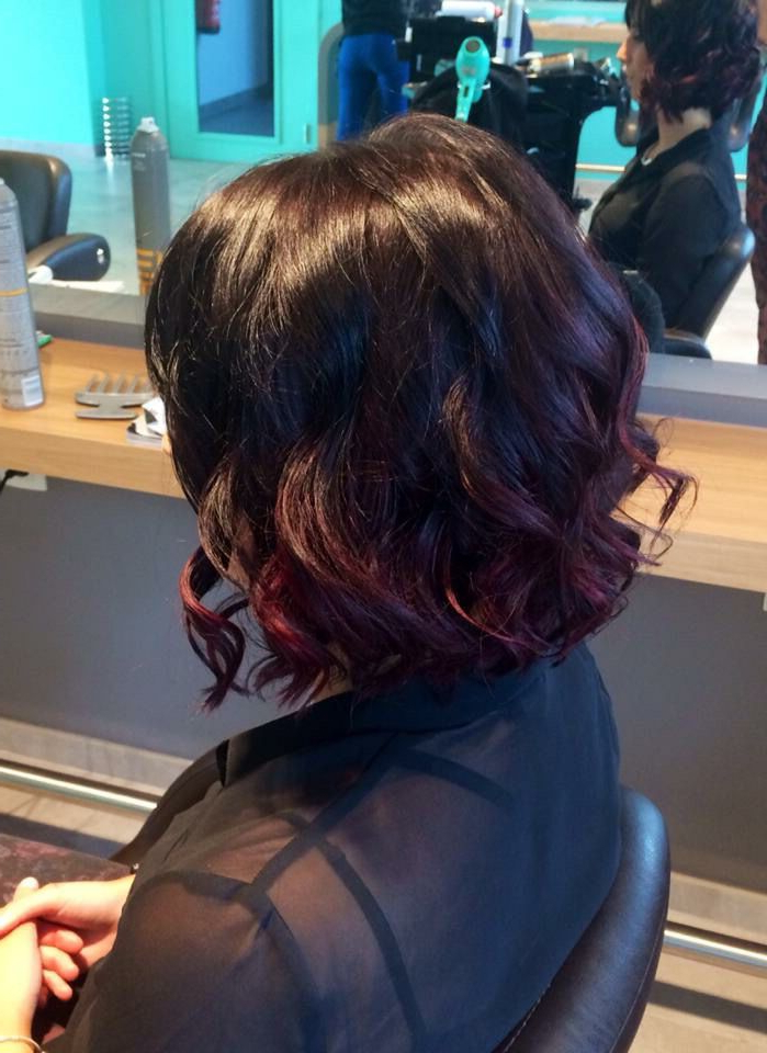 Short Haircut  Ombré Dark Cherry – Curly Hair Bob | Hairstyles To Intended For Stacked Black Bobhairstyles  With Cherry Balayage (View 12 of 25)
