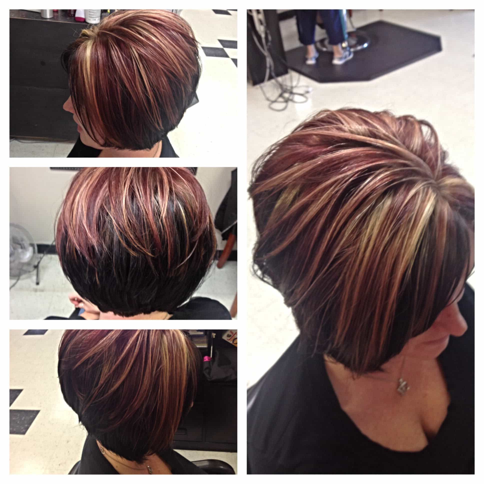 Short Haircuts For Brown Hair With Blonde Highlights And Red Throughout Short Haircuts With Red And Blonde Highlights (View 2 of 25)