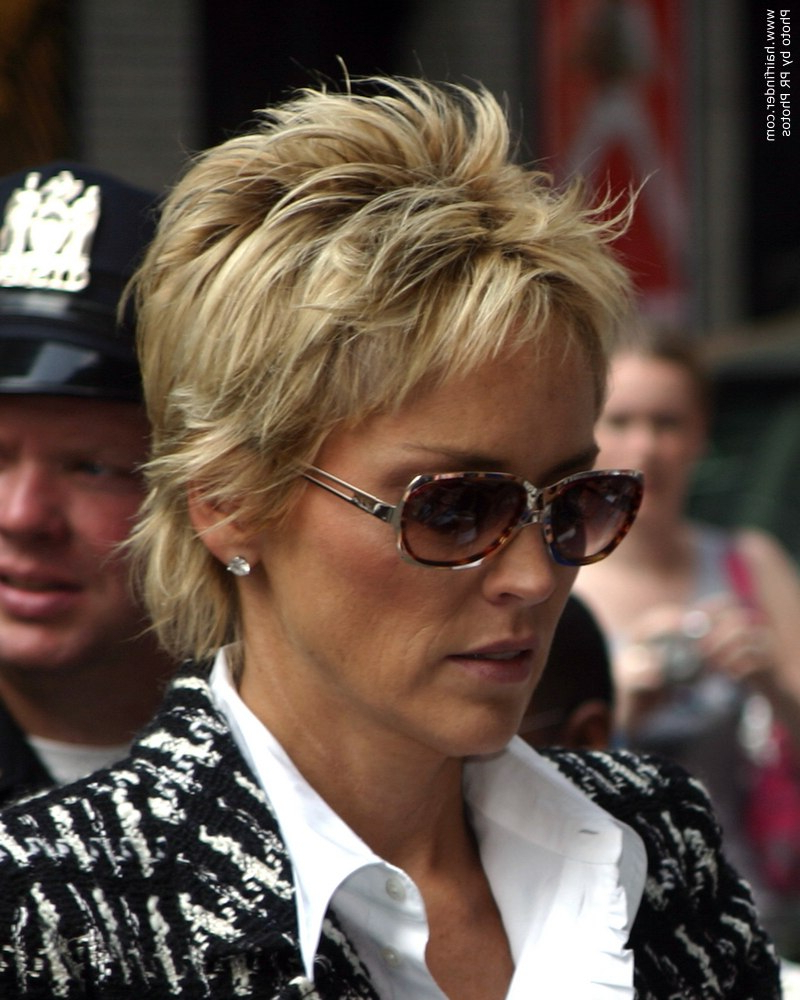 Short Haired Sharon Stone Sporting An Exuberant Pixie Regarding Sharon Stone Short Haircuts (View 11 of 25)
