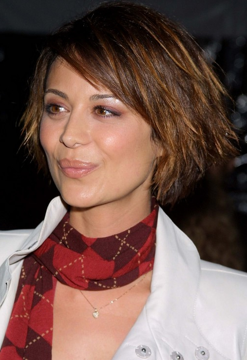 Short, Layered, Funky, Edgy Bob Haircut – Catherine Bell's Hairstyle With Layered Pixie Hairstyles With An Edgy Fringe (View 9 of 25)