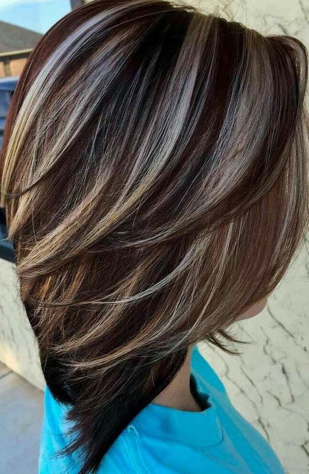 """Short Layered Stacked Bob Hairstyle """"brown Hair With Steel Gray Throughout Stacked Bob Hairstyles With Highlights (View 9 of 25)"""