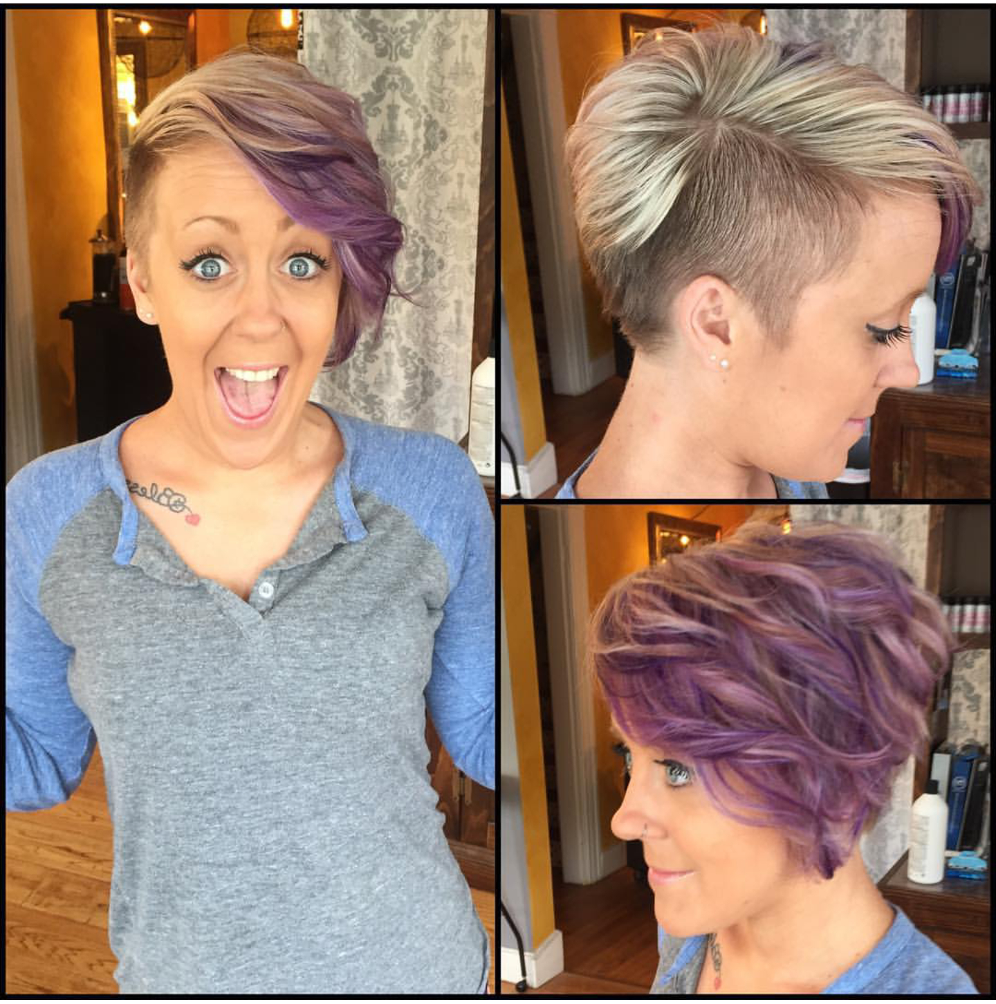 Short Side Shaved Funky Purple Color Hair Idea … | Haircut Needed In Short Hairstyles One Side Shaved (View 19 of 25)