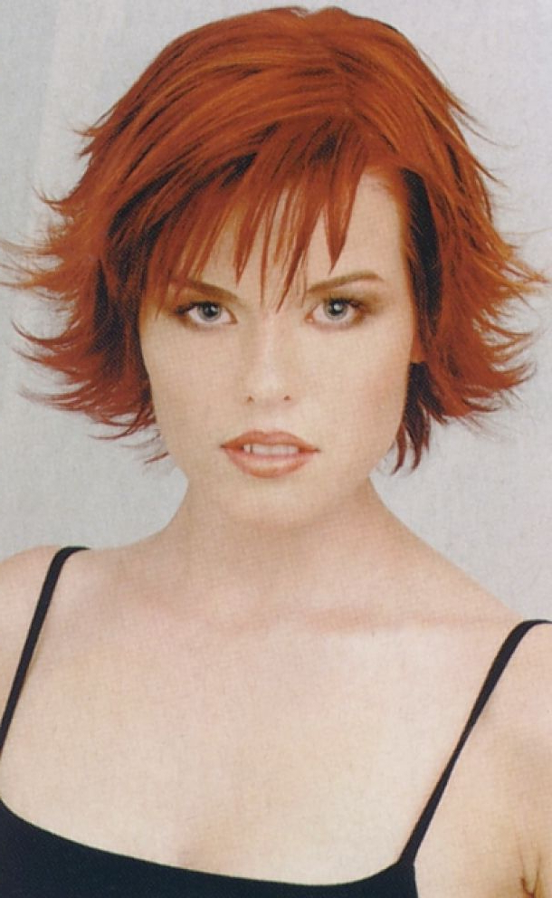 Short Spiky & Layered Hair Style With Wispy Bangs Red Picture – Free For Short Red Haircuts With Wispy Layers (View 25 of 25)