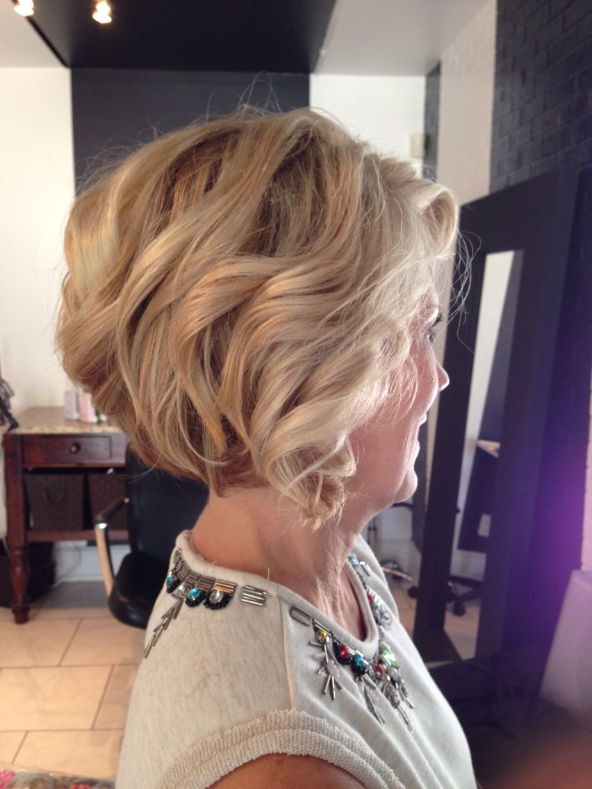Short Stacked Bob, Dimensional Blonde, Highlights, Lowlights, Mature Throughout Short Bob Hairstyles With Whipped Curls And Babylights (View 12 of 25)