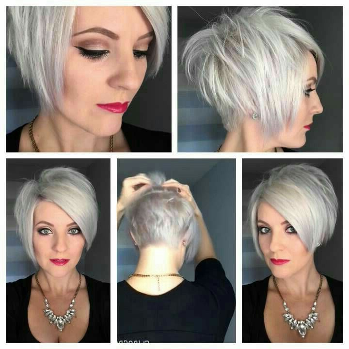 Short Stacked Cut | Color – Grey Hair In 2018 | Pinterest | Hair Intended For High Shine Sleek Silver Pixie Bob Haircuts (View 4 of 25)