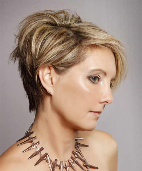 Short Straight Casual Hairstyle – Dark Blonde Hair Color With Light Within Dirty Blonde Pixie Hairstyles With Bright Highlights (View 25 of 25)