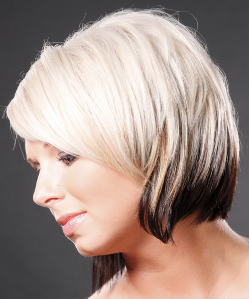 Short Straight Casual Hairstyle With Side Swept Bangs – Platinum And With Regard To Straight Cut Two Tone Bob Hairstyles (View 23 of 25)
