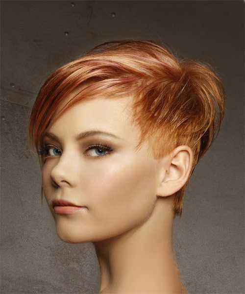 Short Straight Casual Pixie Hairstyle With Side Swept Bangs – Red Pertaining To Highlighted Pixie Bob Hairstyles With Long Bangs (View 20 of 25)
