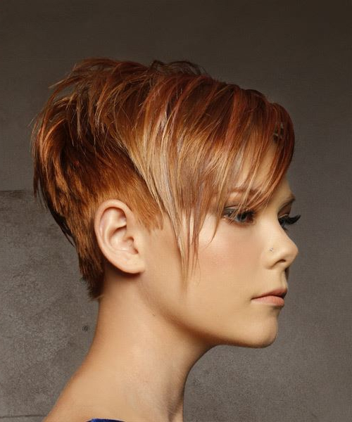 Short Straight Casual Pixie Hairstyle With Side Swept Bangs – Red Pertaining To Highlighted Pixie Bob Hairstyles With Long Bangs (View 12 of 25)