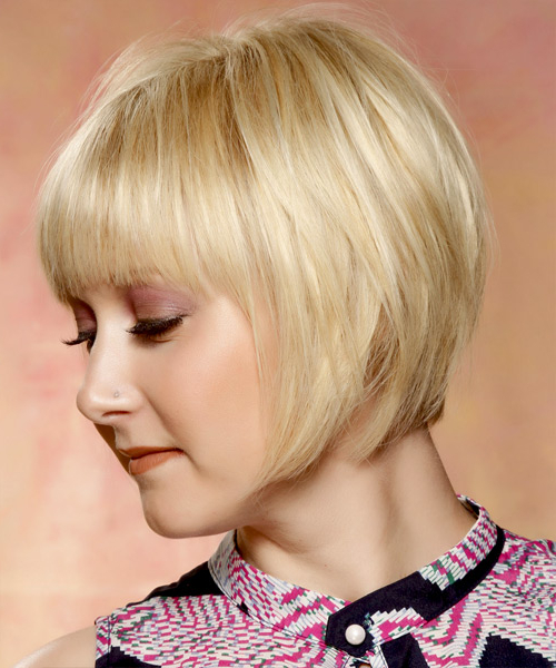 Short Straight Formal Bob Hairstyle With Layered Bangs – Light With Blonde Bob Hairstyles With Tapered Side (View 3 of 25)