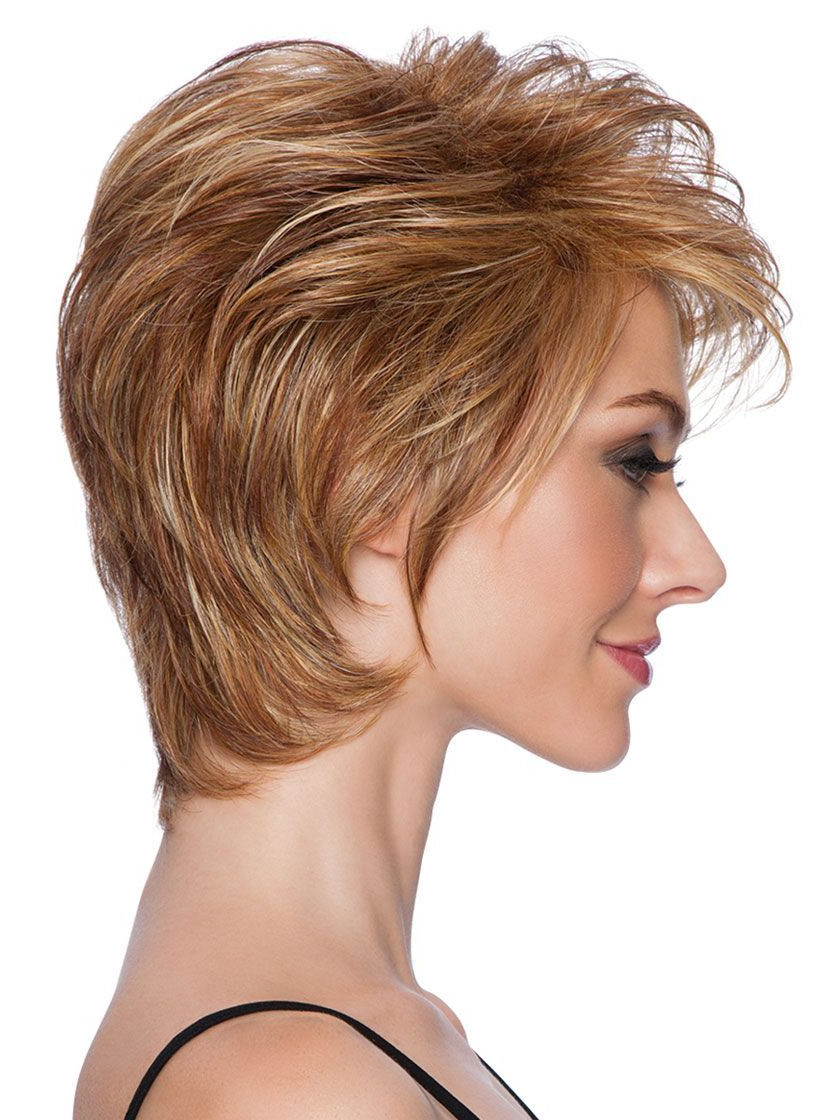 Short Tapered Crop Heat Friendly Synthetic Wig – Wigs Inside Tapered Brown Pixie Hairstyles With Ginger Curls (View 17 of 25)