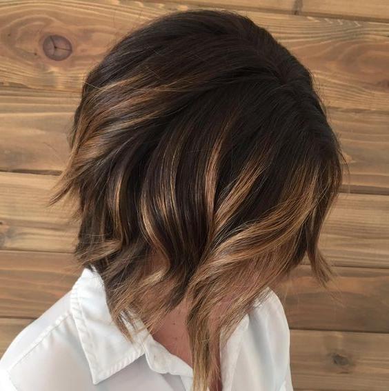 Short Wavy Bob Haircut – Caramel Brunette Balayage Bob Hair Styles Regarding Short Wavy Blonde Balayage Bob Hairstyles (View 18 of 25)