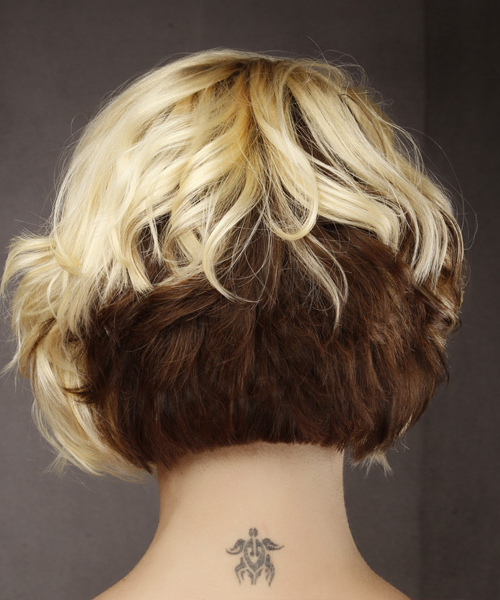 Short Wavy Formal Bob Hairstyle With Asymmetrical Bangs – Light In Two Tone Curly Bob Haircuts With Nape Undercut (View 14 of 25)