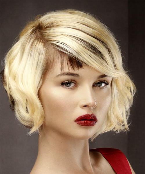 Short Wavy Formal Bob Hairstyle With Asymmetrical Bangs – Light Inside Two Tone Curly Bob Haircuts With Nape Undercut (View 25 of 25)