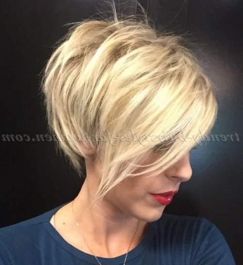 Short+Hairstyles+With+Long+Bangs+ +Short+Blonde+Hairstyle+With+Long+ For Disheveled Blonde Pixie Haircuts With Elongated Bangs (View 2 of 25)