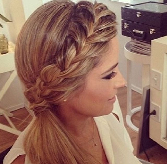 Side Braid Into A Ponytail | Hair & Make Up In 2018 | Pinterest Throughout Long Ponytails With Side Braid (View 11 of 25)