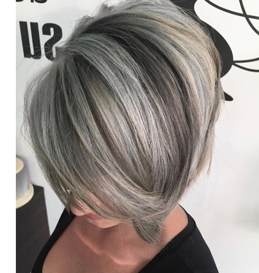 Side Part Bob – Embrace The Grey With These 25 Fabulous Hairstyles Throughout Side Parted Asymmetrical Gray Bob Hairstyles (View 5 of 25)