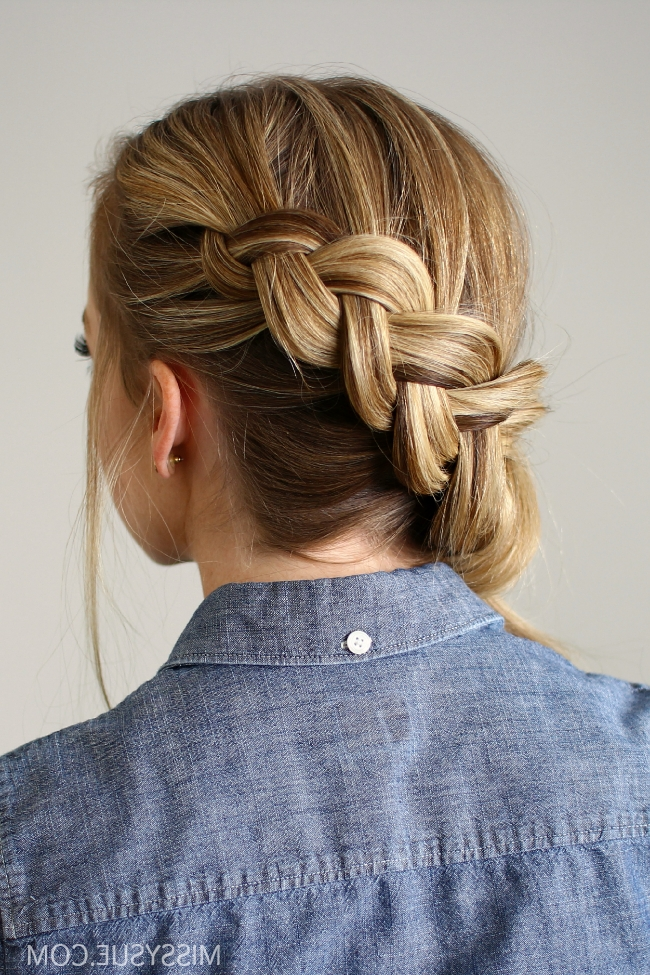 Side Swept Dutch Braid Ponytail Intended For Diagonally Braided Ponytail Hairstyles (View 6 of 25)