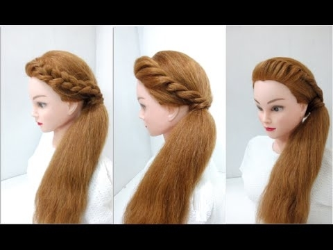 Side Twist Ponytail 4 Attractive Looks : Easy Hairstyles – Youtube With Twisted Front Curly Side Ponytail Hairstyles (View 20 of 25)