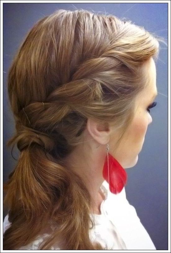 Simple Quick Fashion Way Of Different Pony Tail Hairstyles Within Side Braid Ponytails For Medium Hair (View 18 of 25)