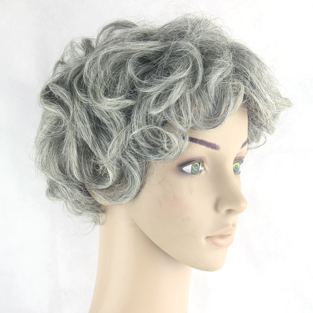 Soowee Gray Hair Wig Black Mix White Synthetic Hair Short Curly Grey Pertaining To Short Haircuts For Gray Hair (View 23 of 25)