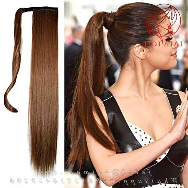 Straight Long Wrapped Around Sleek High Human Ponytail 100 Intended For Wrapped High Ponytails (View 15 of 25)