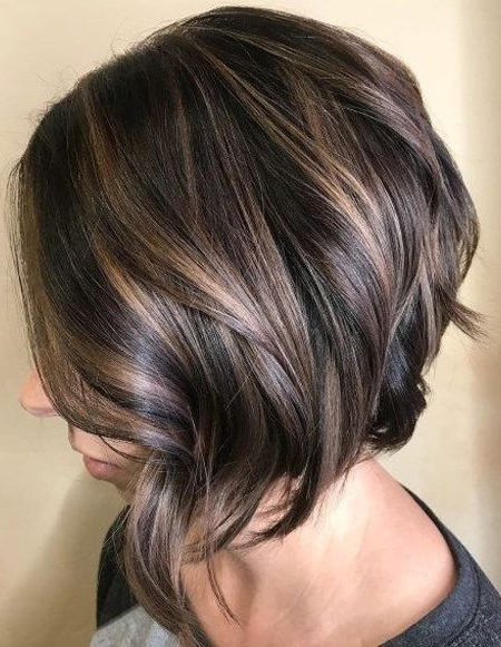 Stylish Angled Bob With Polished Waves Haircuts 2018 | Latest Throughout Brunette Bob Haircuts With Curled Ends (View 25 of 25)