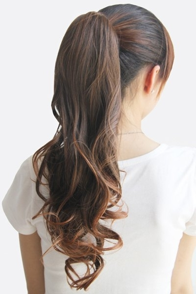 Stylish Charming Drawstring Heat Resistant Fluffy Long Wavy Ponytail Intended For Wavy Ponytails With Flower (View 18 of 25)