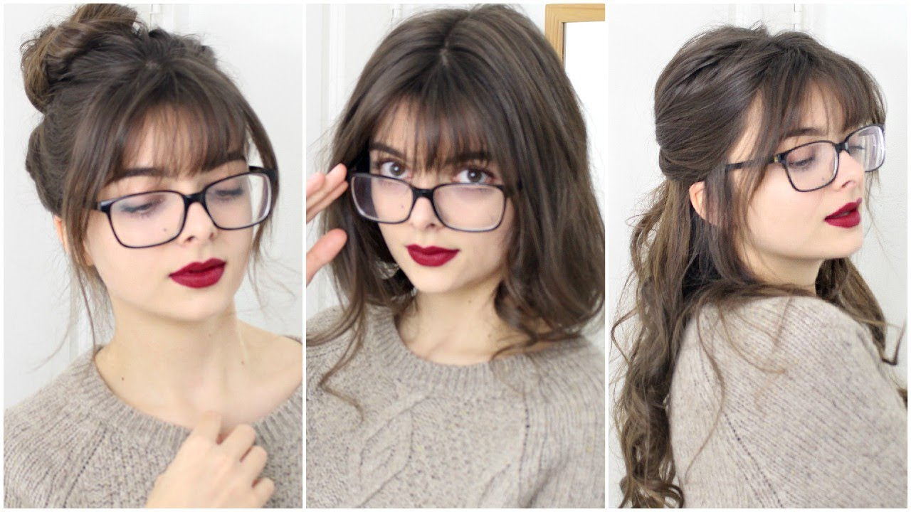 Super Easy & Cute Hairstyles For Bangs + Glasses – Youtube Intended For Short Haircuts With Bangs And Glasses (View 4 of 25)