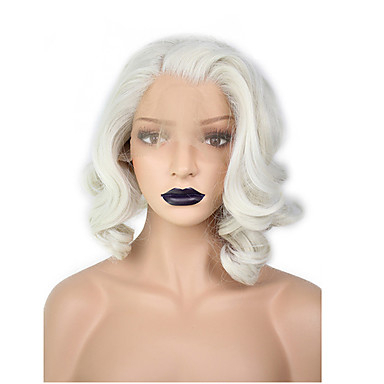 Synthetic Lace Front Wig Wavy / Water Wave Blonde Bob Haircut Throughout Side Parted White Blonde Pixie Bob Haircuts (View 13 of 25)