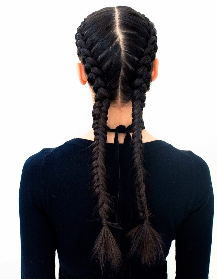 The Boxer Braid (Aka Double French Braid): A How To – Coveteur Regarding Twin Braid Updo Ponytail Hairstyles (View 24 of 25)