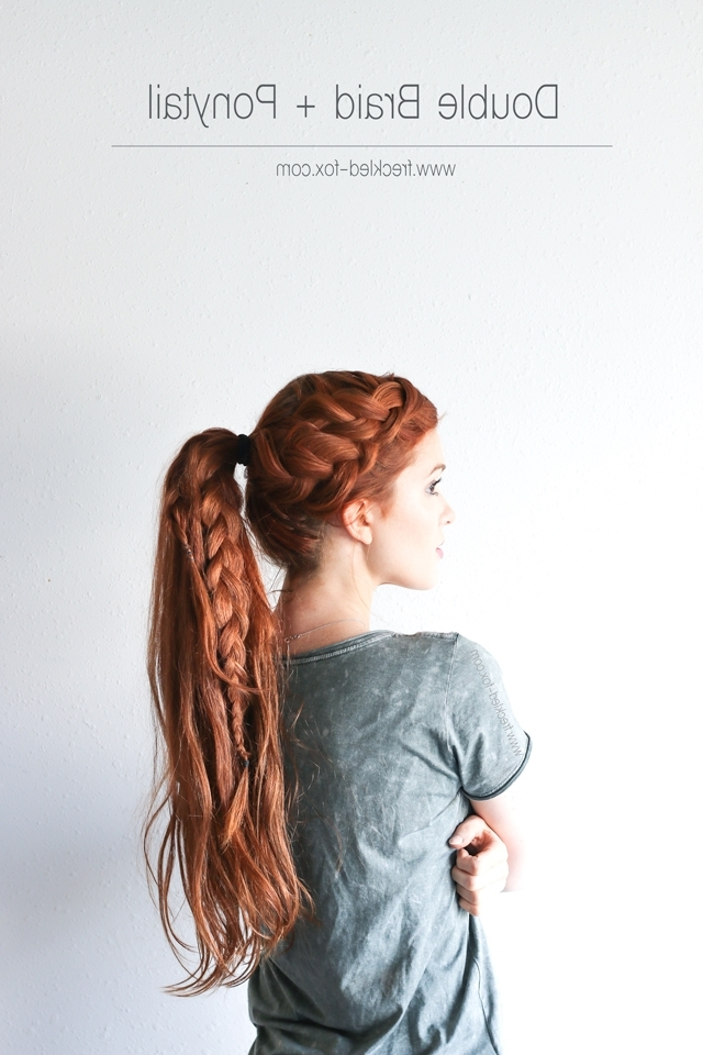 The Freckled Fox: The Double Braid + Ponytail Hairstyle Regarding Double French Braid Crown Ponytail Hairstyles (View 9 of 25)