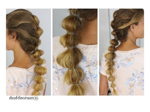 The French Bubble Braid ?marion Blush Braids – Youtube Inside French Braid Ponytail Hairstyles With Bubbles (View 14 of 25)