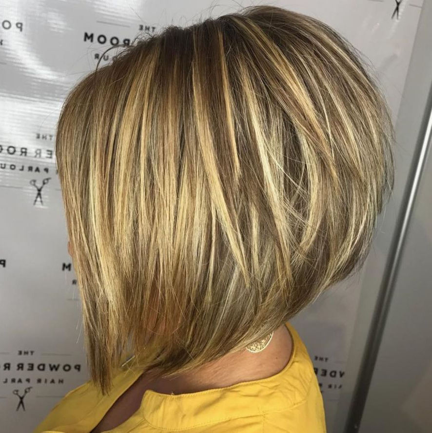The Full Stack: 50 Hottest Stacked Haircuts In 2018 | A Layered Bob In Stacked Copper Balayage Bob Hairstyles (View 3 of 25)