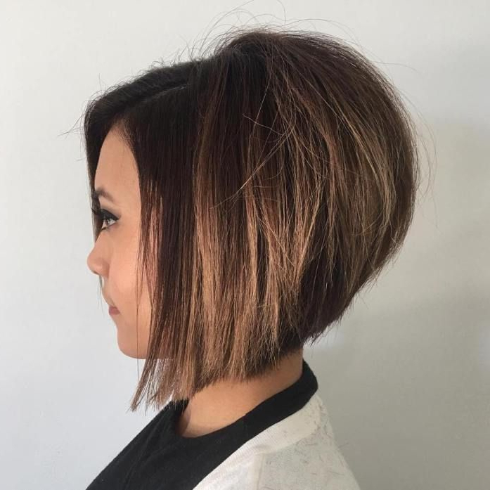 The Full Stack: 50 Hottest Stacked Haircuts In 2018 | Vickie Ward Pertaining To Short Stacked Bob Hairstyles With Subtle Balayage (View 14 of 25)