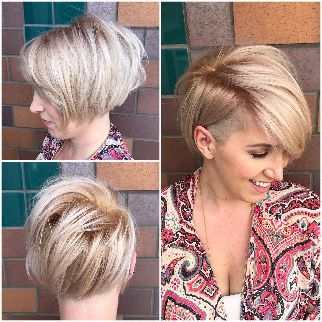 This Asymmetric Side Swept Bob With Undercut And Soft Blonde Color Throughout Side Swept Short Hairstyles (View 2 of 25)