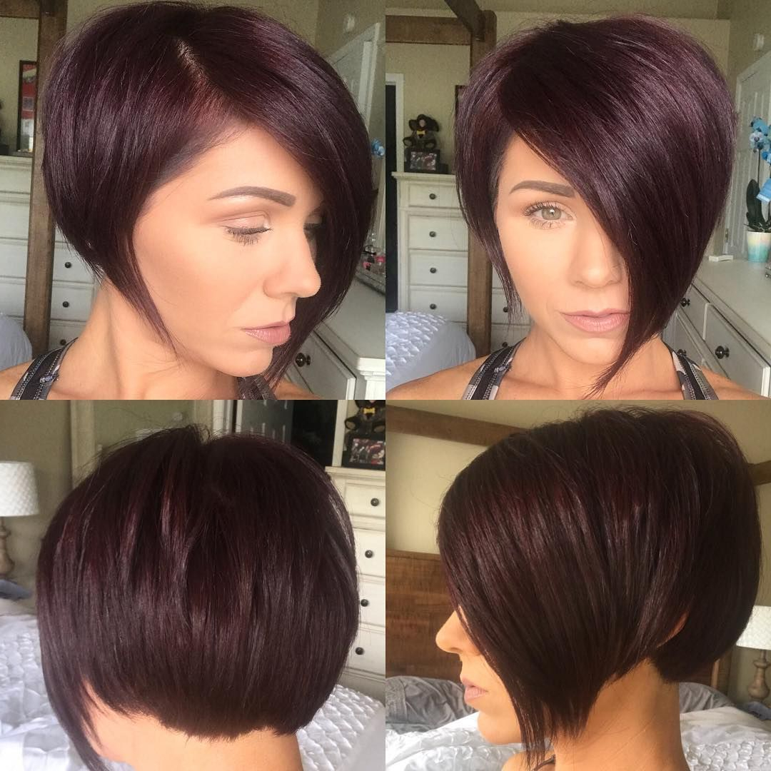 This Burgundy Asymmetrical Pixie Bob With Side Swept Bangs And Throughout Disheveled Burgundy Brown Bob Hairstyles (View 3 of 25)