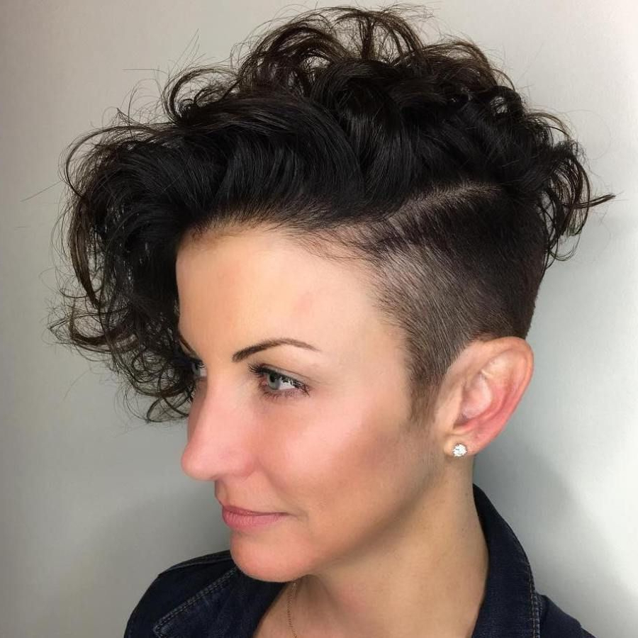 Top 40 Catchy Asymmetric Haircuts For Attention Grabbing Gals In For Undercut Hairstyles For Curly Hair (View 11 of 25)