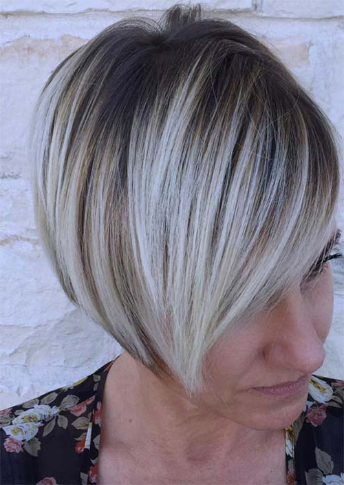 Top 51 Haircuts & Hairstyles For Women Over 50 – Glowsly Regarding High Contrast Blonde Balayage Bob Hairstyles (View 17 of 25)