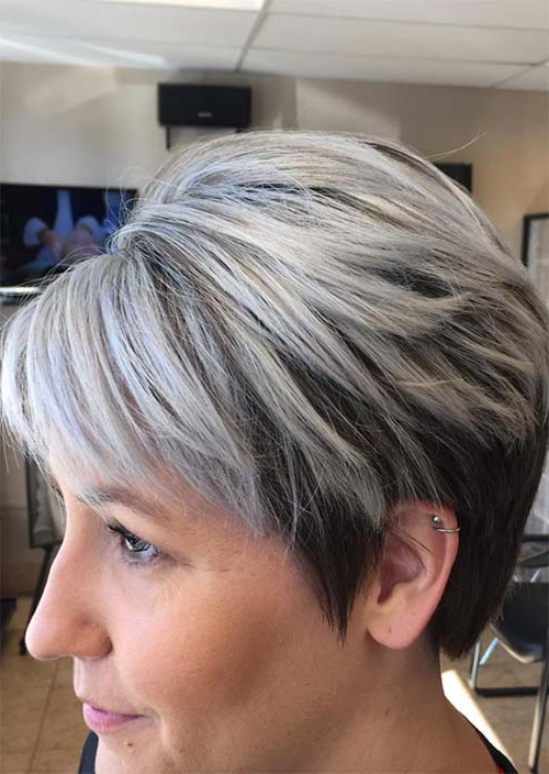 Top 51 Haircuts & Hairstyles For Women Over 50 – Glowsly Regarding Short Razored Blonde Bob Haircuts With Gray Highlights (View 7 of 25)
