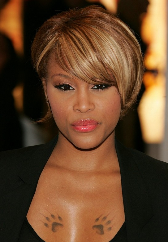 Trendy African American Short Straight Haircut – Celebrity Eve's Regarding Sleek Blonde Bob Haircuts With Backcombed Crown (View 25 of 25)