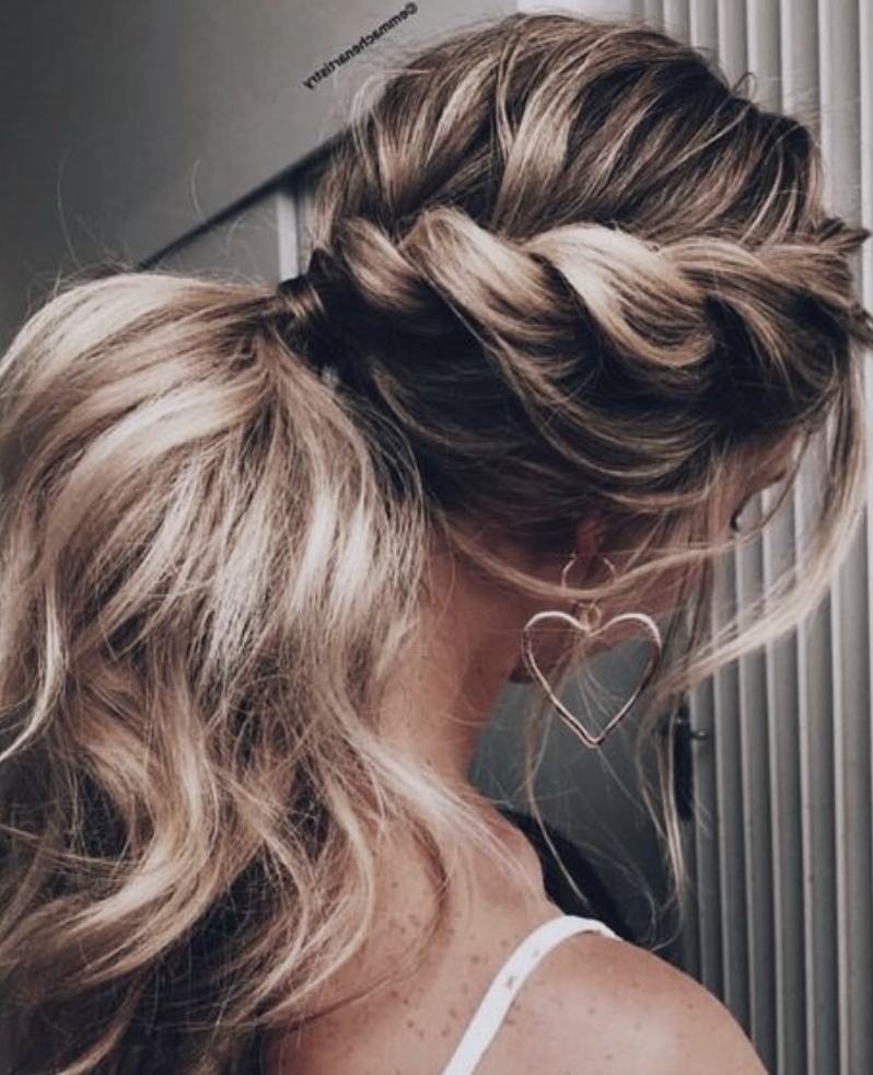Twisted French Braid Into Ponytail | Long Blonde Balayage Hair With French Braid Ponytail Hairstyles With Curls (View 4 of 25)