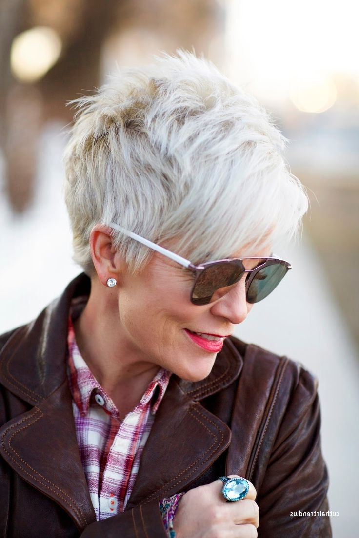 Unique Short Hairstyles For Grey Hair And Glasses Intended For Short Hairstyles For Salt And Pepper Hair (View 12 of 25)